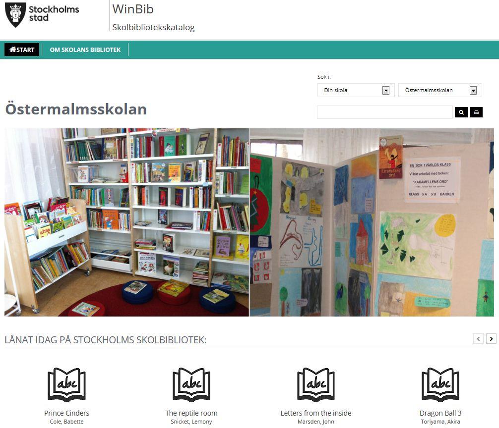 Bild på Skolbibliotekets webbkatalog