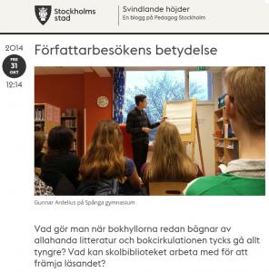 Författarbesök på Spånga gymnasium