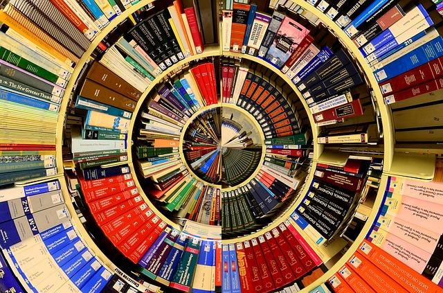 Bild på boksamling i rund ring